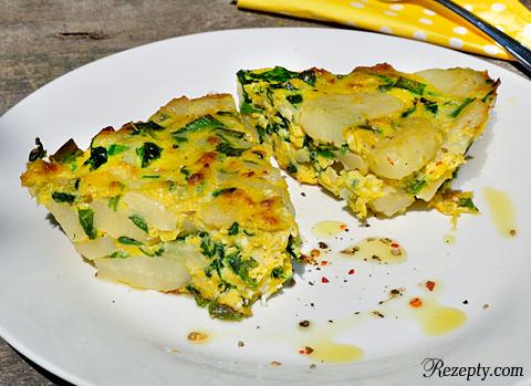 фритата с картофелем и шпинатом